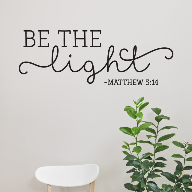 Be The Light Matthew 5:14 Religious Wall Quote, Black Contemporary Wall