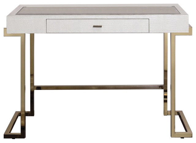 Mirror Top Writing Desk, White And Gold.