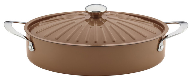 Cucina Oven-To-Table Nonstick 5-Quart Covered Oval Sauteuse, Mushroom Brown.