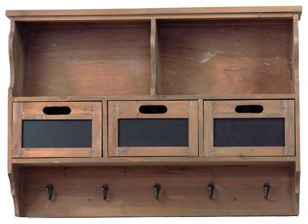 Rustic Country Style Wood Wall Shelf 3 Drawer Coat Hanger Rack Decor Display