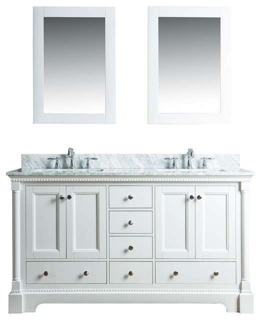 Olivia 60 In Double Bathroom Vanity In White With Carrera Marble Top.