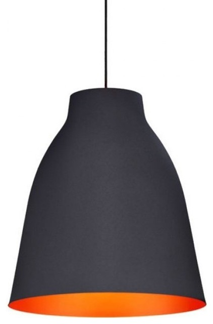Matte Black Ceiling Lamp With Bronze