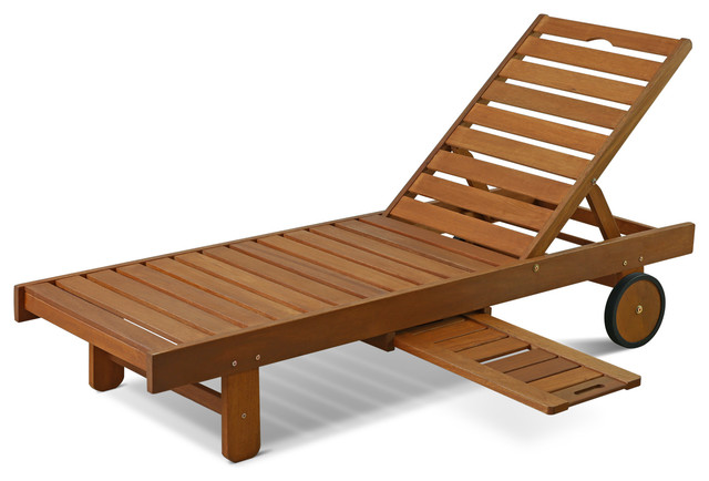 Tioman Outdoor Hardwood Sun Lounger With Tray Craftsman