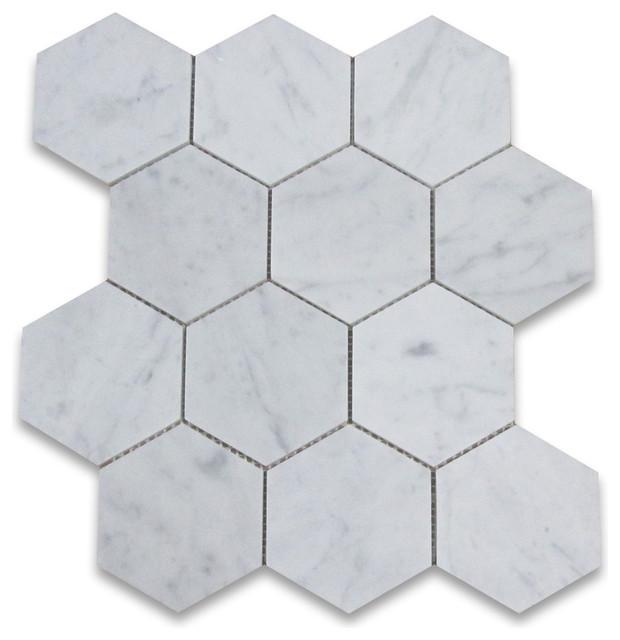X Carrara White Hexagon Mosaic Tile Honed Chip Size - Discount hex tile