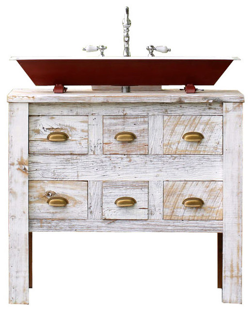 "Reclaimed Wood Bath Vanity Cabinet Steel Trough Sink Package, White 36"" - Farmhouse - Bathroom ..."