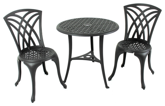 3-Piece Black Cast Aluminum Weave Pattern Bistro Table And