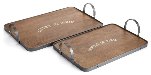 Bistro Trays With Metal Handles Set Of 2