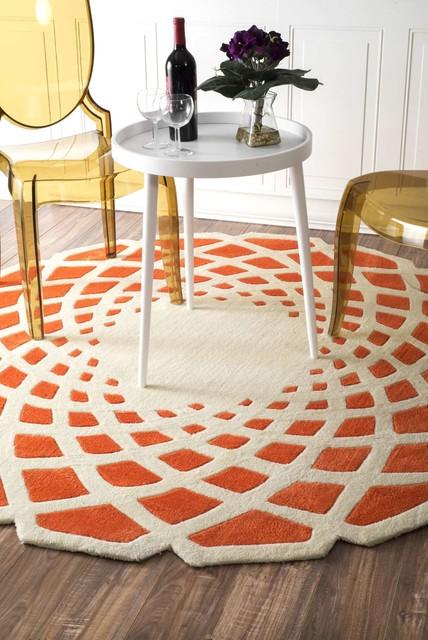 Hand-Tufted Crystal Area Rugs, Orange, 6&x27; Round.