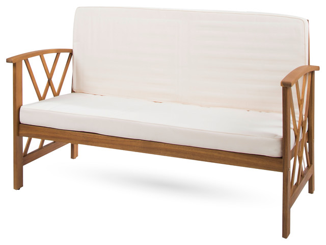 Longfellow Outdoor Acacia Wood Bench With Water Resistant Fabric Cushion, Brown.