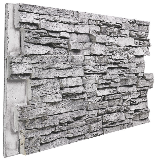 Deep Stacked Stone Wall Panel Gray