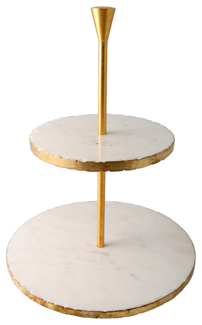 Marble Dessert Stand With Gold Border Transitional