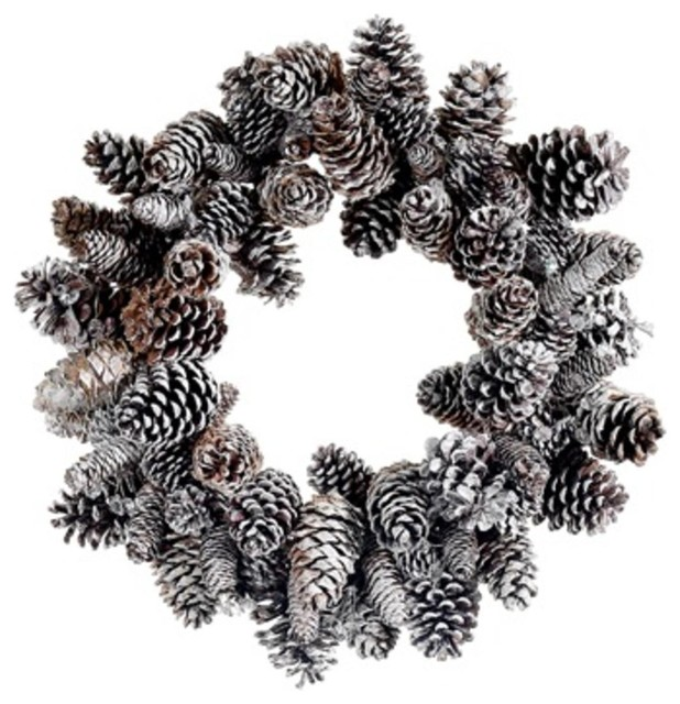 "24"" Iced Pine Cone Artificial Christmas Wreath, Unlit."