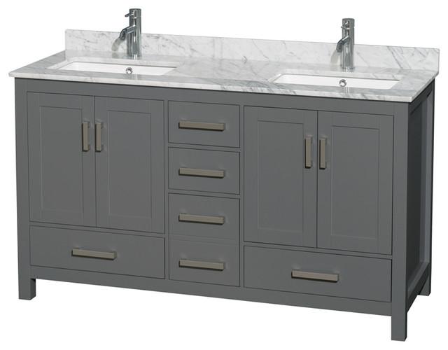 60 Double Vanity Dark Gray White Carrara Marble Top Undermount Square Sinks