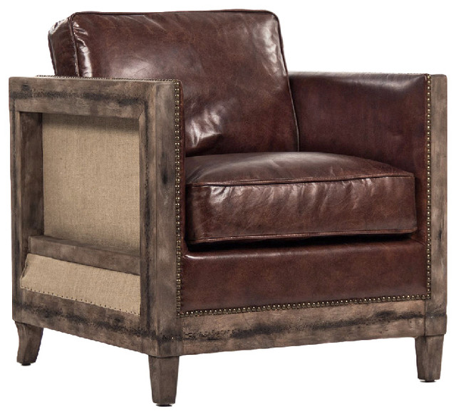 Beck Rustic Lodge Masculine Square Frame Brown Leather Club Chair