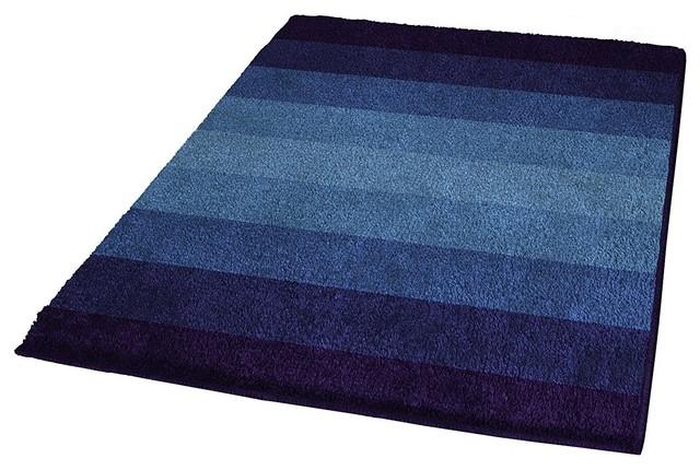 Navy Blue Non Slip Washable Bathroom Rug, Palace, Extra Large Contemporary  Bath