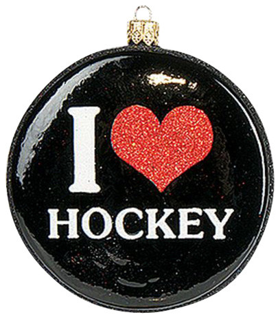 i love hockey puck polish sports mouth blown glass christmas ornament christmas ornaments