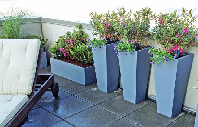 NYC Roof Garden, Terrace Deck, Pavers, Container Plants, Fiberglass Pots  Contemporary