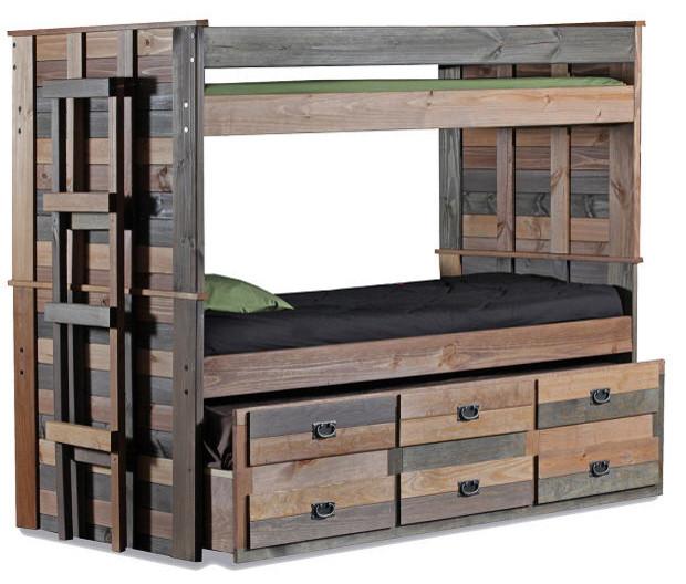 Morgan Creek Extra Long Combo Bunk Bed, Extra Long Twin Over Twin.