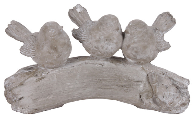 Remarkable Cement Bird Figurines On Branch Concrete Finish Gray 3 Piece Set Spiritservingveterans Wood Chair Design Ideas Spiritservingveteransorg