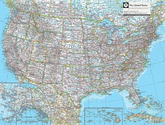 Map of United States Wallpaper Wall Mural, Self-Adhesive