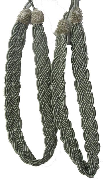 Metallic Sage Green Rope Curtain Tiebacks, Set Of 2.