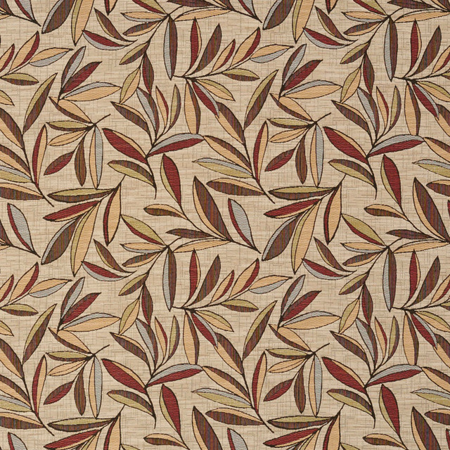 Red Gold And Green Leaves Woven High End Quality Upholstery Fabric