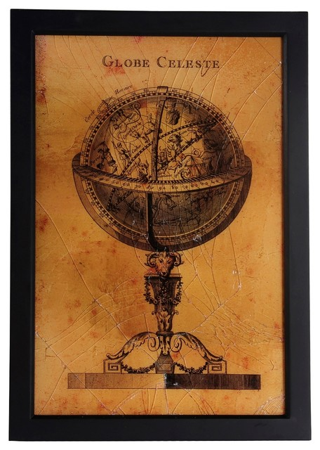 Distressed Finish Black and Gold Vintage Globe Wall Art, 19\