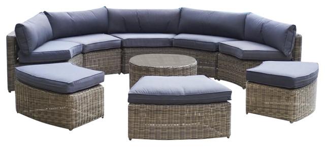 Mayfair 9-Piece Curved Modular Rattan Garden Furniture Set