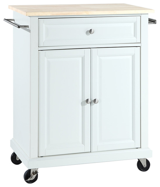 Crosley Natural Wood Top Portable Kitchen Island Cart View In Your Room Houzz