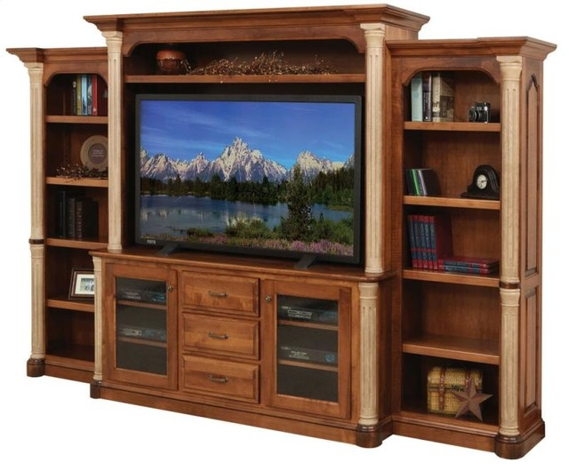 Jefferson Entertainment Tv Stand And Hutch With Side Bookcases