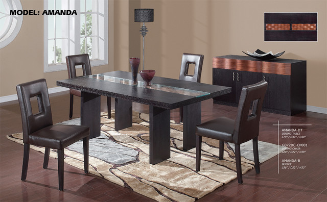 Luxury Rectangular Wood And Glass Top Leather Dining Room