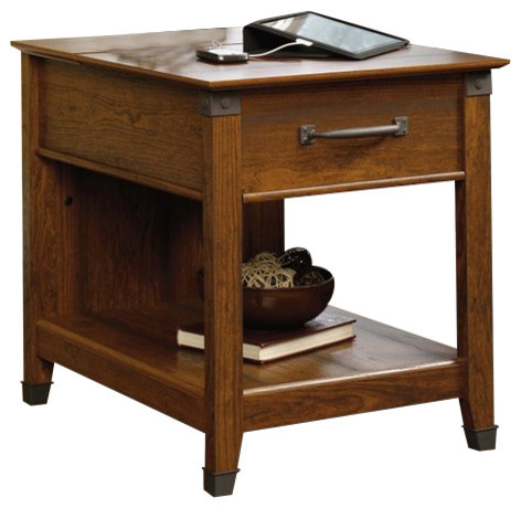 Sauder Carson Forge Smartcenter Side Table In Washington Cherry  Transitional Side Tables And