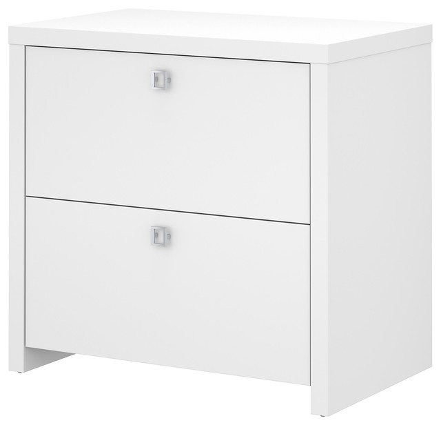 Echo Lateral File Cabinet, Pure White, Assembled.