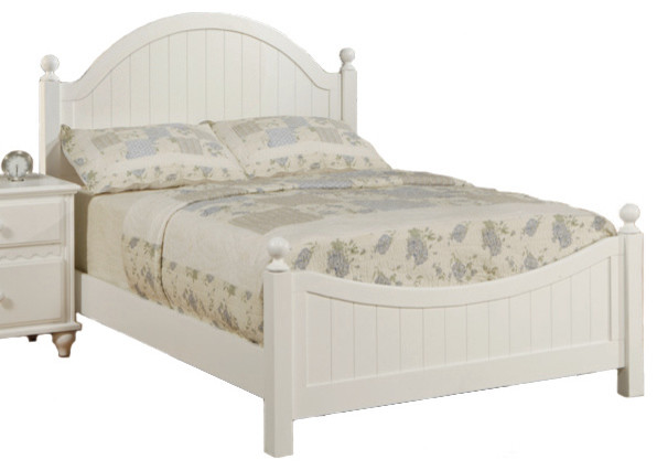Wooden Youth Bedroom Set White Panel Headboard