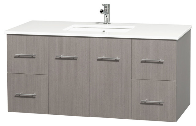 Centra 48 Gray Oak Single Vanity, Countertop, Undermount Square Sink, No Mirror.