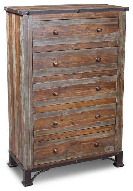 Crafters and Weavers Logan Boulevard Rustic Industrial 5 Drawer