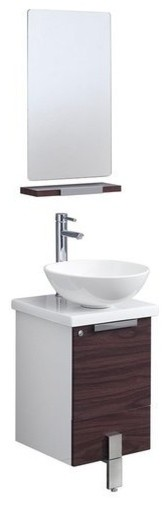 "Adour 16"" Dark Walnut Modern Bathroom Vanity With Mirror."