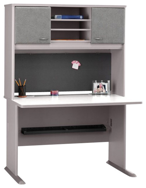 Bush Series A 48 Computer Desk with Hutch in Pewter