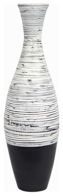 """Nola 36"""" Spun Bamboo Floor Vase, Distressed White & Matte Black"""