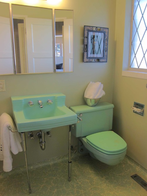 Green toilet and sink