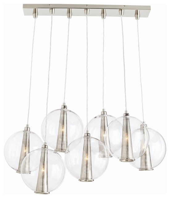 Arteriors Caviar Fixed Staggered Pendant, Polished Nickel.