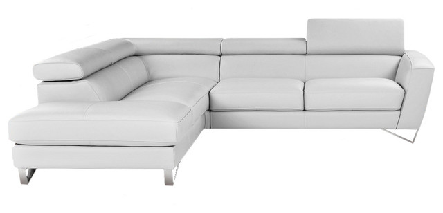 Sparta Italian Leather Sectional Sofa Left Hand Facing Chaise White Modern  Sectional