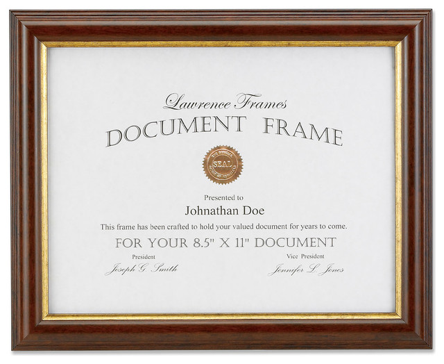 Walnut and Gold Document 11x14 Picture Frame - Traditional - Picture ...