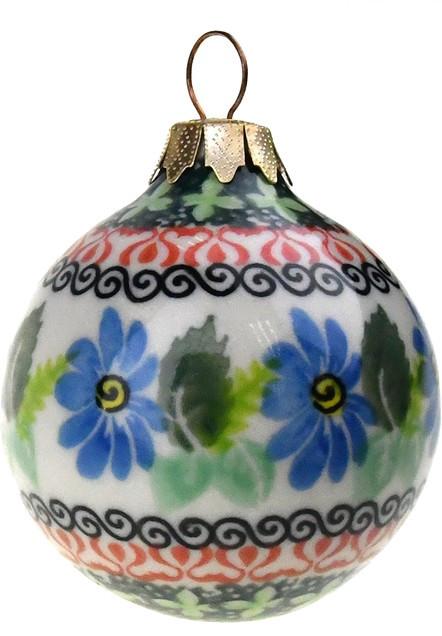 ceramika artystyczna polish hand painted christmas ornament green and blue