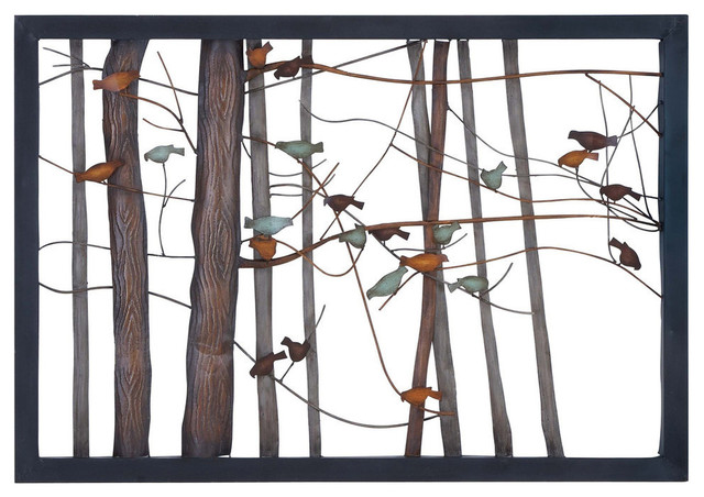Woodland Imports Metal Wall Plaque Features Scene Of