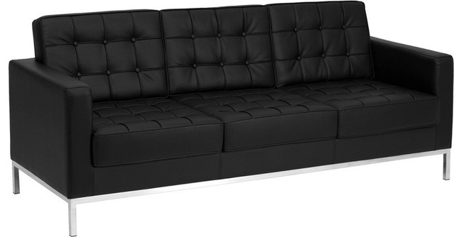 Hercules Lacey Series Contemporary Black Leather Sofa With Stainless Steel Frame