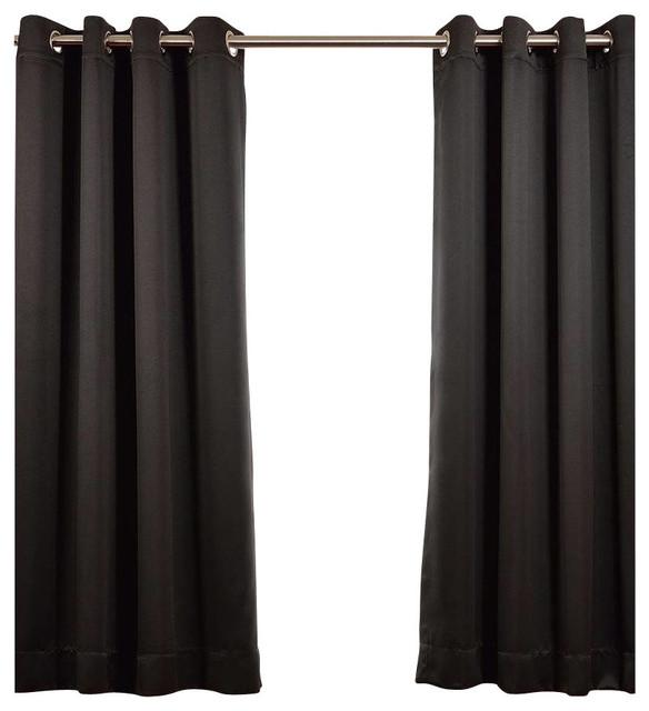 Jet Black Grommet Blackout Curtain, Set Of 2, 50x96.