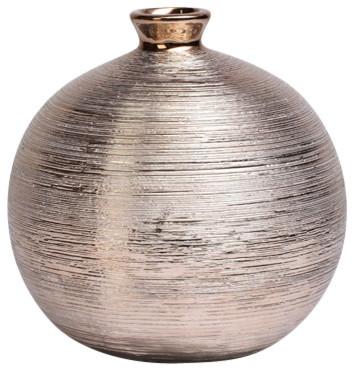 Spun Round Metallic Vase Traditional Vases By Drew Derose Designs