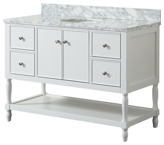 "Aurellia Marble White Bathroom Vanity, 48""."