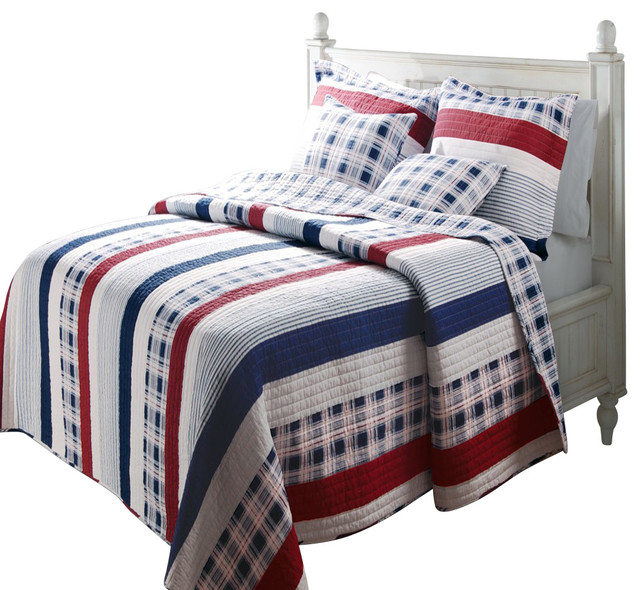 Greenland Home Nautical Stripe Quilt And Sham Set 3 Piece King